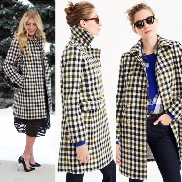 da0996d4f1 J. Crew Jackets & Coats   Jcrew Double Breasted Coat In Oxford Check ...